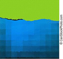 kék, szakadt, zöld, dolgozat, struktúra