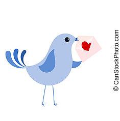 kék, szeret madár, levél