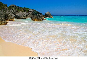 kék, sziklás, óceán víz, (bermuda), partvonal, tengerpart, homokos