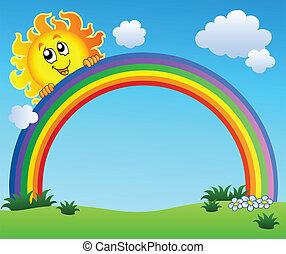 kék, szivárvány, ég, birtok, nap