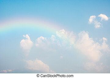 kék, szivárvány, ég
