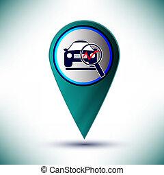 kék, szolgáltatás, autó, gombol, elem, háttér., vektor, tervezés, sima, ikon
