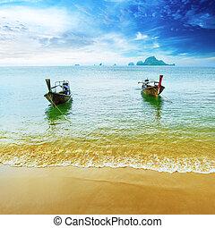 kék, táj, táj, boat., természet, fából való, resort., utazás, sziget, ég, tropikus, hagyományos, gyönyörű, paradicsom, thaiföld, tengerpart, summer., víz