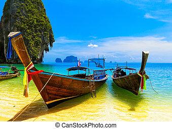 kék, táj, táj, boat., természet, fából való, sziget, utazás, ég, tropikus, hagyományos, erőforrás, gyönyörű, paradicsom, thaiföld, tengerpart, summer., víz