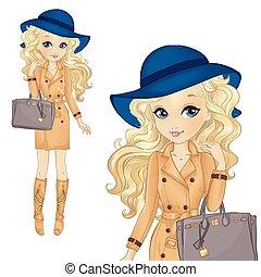 kék, táska, leány, kalap, klasszikus