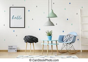 kék, tényleges, berendezés, poster., szoba, gyermekek, fénykép, következő, szék, belső, asztal, egyensúlyozó, vánkos