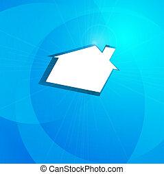 kék, tényleges, fogalom, épület, háttér, estate., fehér