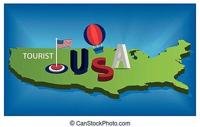 kék, térkép, egyesült, természetjáró, usa, ábra, egyesült államok, háttér., vektor, zászlók