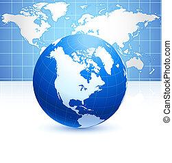 kék, térkép, földgolyó, háttér, világ