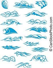 kék, törő, óceán lenget