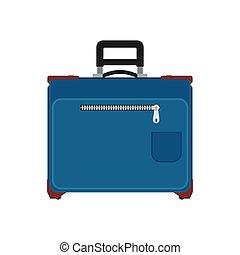 kék, targonca, fogantyú, poggyász, utazás, szünidő, elszigetelt, málhazsák, táska, vektor, white., bőrönd, elülső, icon., utazás, kilátás