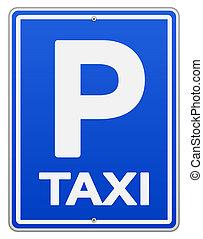 kék, taxi cégtábla, várakozás