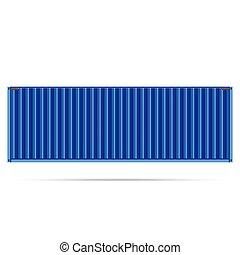kék, teherárú tároló, elszigetelt, hajózás, vektor, rakomány, népszerű, te