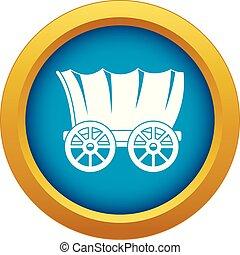 kék, tehervagon, ősi, elszigetelt, vektor, western, befedett, ikon
