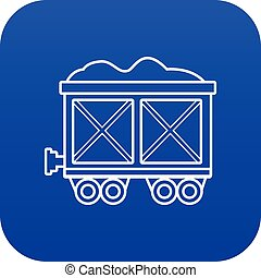 kék, tehervagon, vasút, vektor, ikon