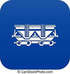 kék, tehervagon, vektor, ikon