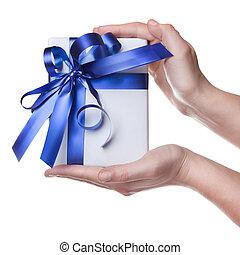 kék, tehetség, csomag, elszigetelt, hatalom kezezés, white szalag