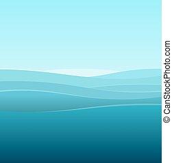 kék, tenger, elvont, vektor, háttér, waves.