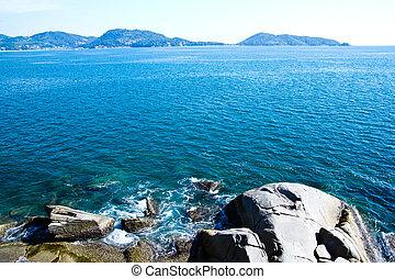 kék, tenger, kő