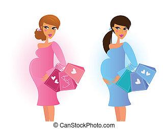 kék, terhes women, rózsaszínű