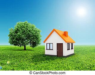 kék, tiszta égbolt, épület, zöld fű, 3
