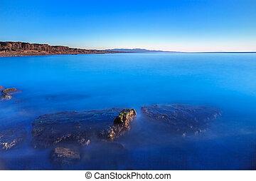 kék, tiszta égbolt, öböl, óceán, elmerült, hintáztatni, tengerpart, napnyugta