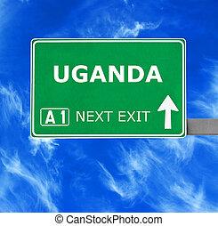 kék, tiszta égbolt, ellen, aláír, uganda, út