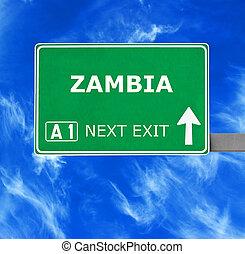 kék, tiszta égbolt, ellen, aláír, zambia, út