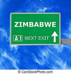 kék, tiszta égbolt, ellen, aláír, zimbabwe, út