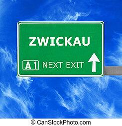 kék, tiszta égbolt, ellen, aláír, zwickau, út