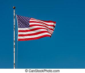 kék, tiszta égbolt, lobogó, ellen, amerikai