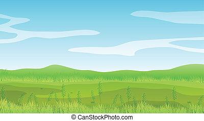 kék, tiszta égbolt, mező, alatt, üres
