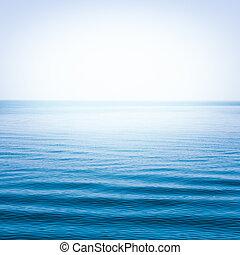 kék, tiszta égbolt, tenger, lenget