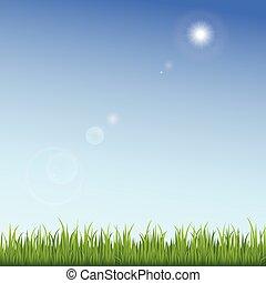 kék, tiszta égbolt, zöld háttér, fű