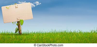 kék, transzparens, aláír, ég, zöld, horizontális