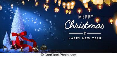 kék, transzparens, háttér, fa, vagy, köszönés, fény, karácsony, background;, ünnepek, művészet, kártya
