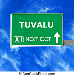 kék, tuvalu, tiszta égbolt, ellen, aláír, út