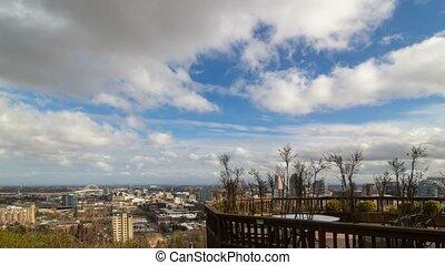 kék, uhd, elhomályosul, múlás, ég, oregon, belvárosi, 4k, idő, cityscape, portland, felett