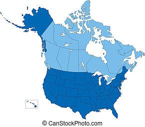 kék, usa, vidék, szín, egyesült államok, kanada