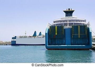 kék, utas, csónakázik, ibiza, rakomány