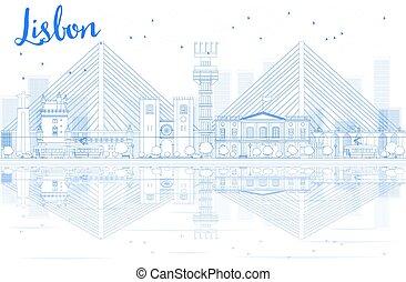 kék, város, épület., láthatár, lisszabon, áttekintés