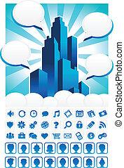 kék, város, ikonok