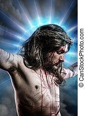 kék, vérzés, fény, kálváriadomb, jézus, ábrázolás, indulat, dicsfénnyel övezni, ember