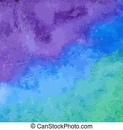 kék, vízfestmény, vektor, háttér