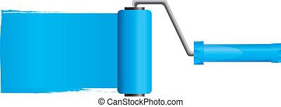 kék, vektor, ábra, festék, rész, ecset, festék, 2, hajcsavaró