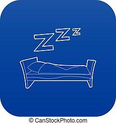 kék, vektor, ágy, ikon