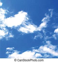 kék, vektor, ég, clouds.