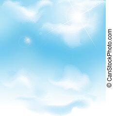 kék, vektor, ég