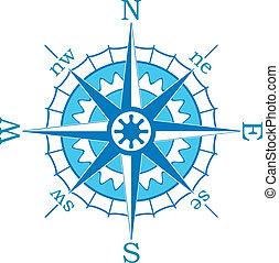 kék, vektor, iránytű