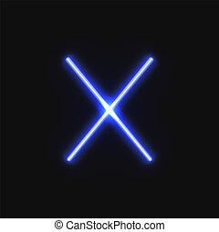 kék, vektor, neon, megvonalaz, izzó, lines., keresztbe tett